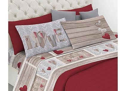 d1f4e598b9 BIANCHERIAWEB Completo Lenzuola Linea Pensieri Delicati in 100% Cotone  Disegno Shabby Love Matrimoniale Rosso: Amazon.it: Casa e cucina