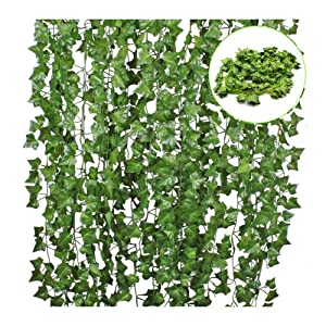 12 Pack 84 Ft Artificial Ivy Leaf Flowers Greenery Garland Plants Hanging Vine Garland Fake Leaf Foliage for Kitchen Party Garden Office Wedding Wall Home Decor