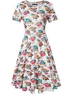 YesFashion Vestido Verano Elegantes sin Mangas Fiesta Vintage Ropa de Mujer