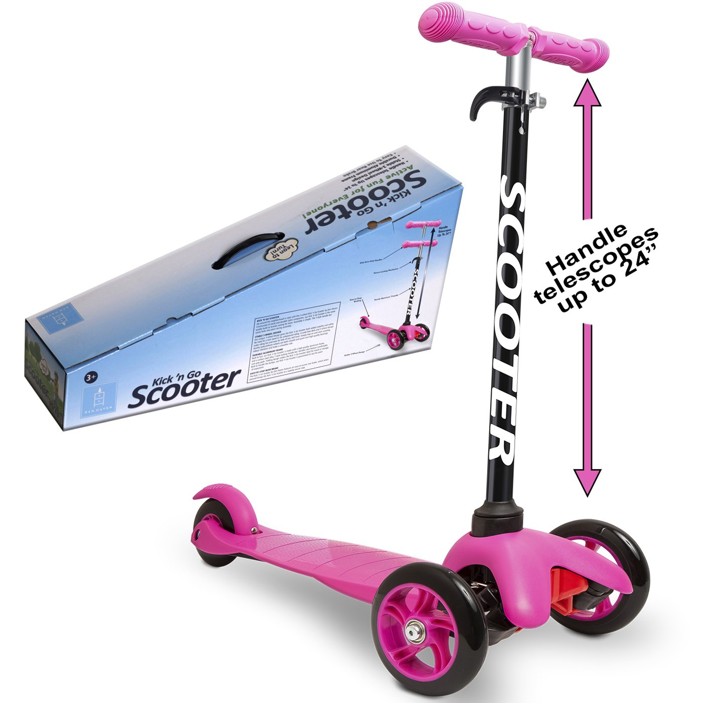 Den Haven Scooter for Kids - Deluxe Aluminum 3 Wheel Glider with Kick n Go, Lean 2 Turn, Step 4 Brake-Pink (Pink) by Den Haven (Image #4)