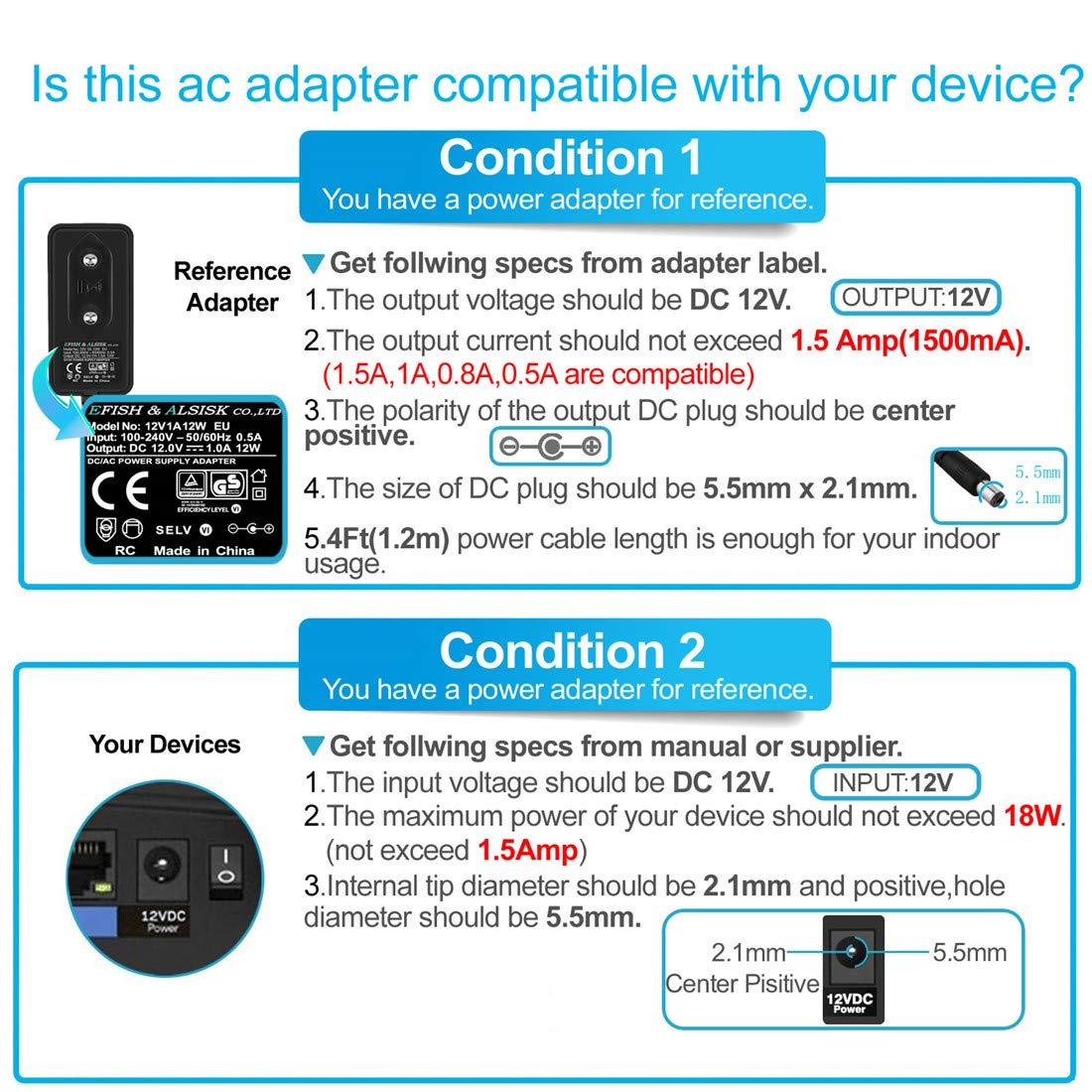 EFISH Adaptador de alimentación 12V 1A | Adaptador de Enchufe de CA DC de 1Amp para electrodomésticos Cámara CCTV,Teclado Yamaha,Enrutador,Eje,Interruptor ...