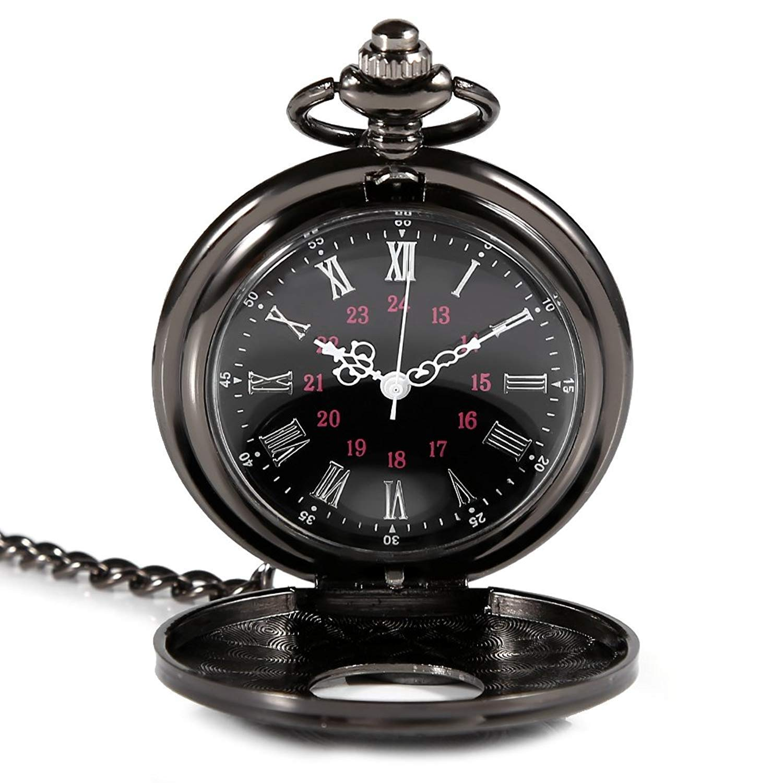 Isuper Patrón Romana Exquisito Reloj de Bolsillo Retro Antiguos del Reloj de Cuarzo del dial de Lujo y la Cadena de Reloj del número Romano Reloj de la ...