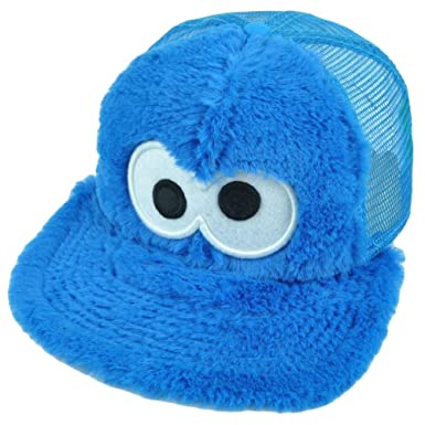 1319f8ec 123 Sesame Street Cookie Monster Fuzzy Tv Show Snapback Hat Cap Blue Mesh  Youth