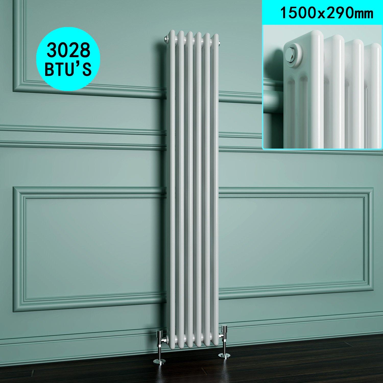 1500 x 290 mm Traditional Vertical Radiator Cast Iron Triple Panel ...