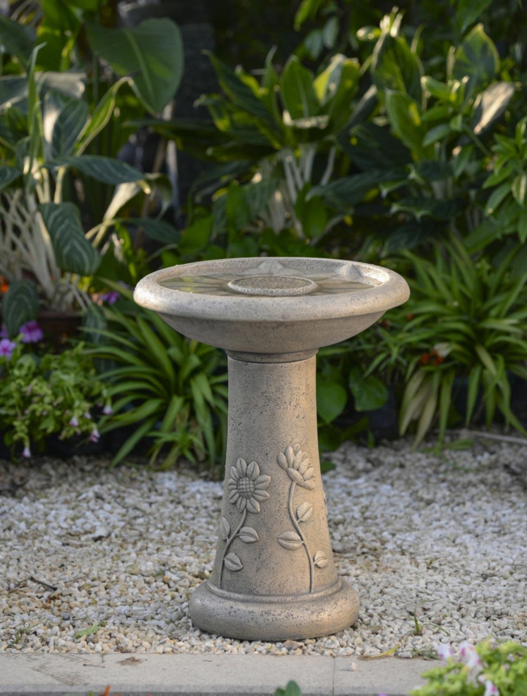 "19.5"" Light Brown Floral Motif Faux Stone Outdoor Patio Garden Birdbath Fountain"