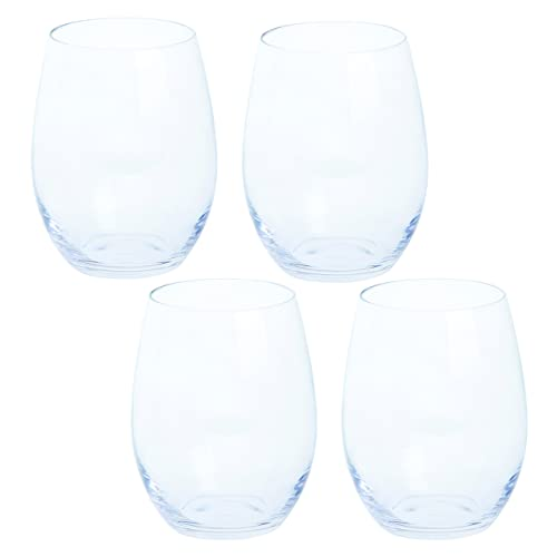 Dartington Crystal - Stemless Crystal Red Wine Glasses, Set of 4 x 440ml