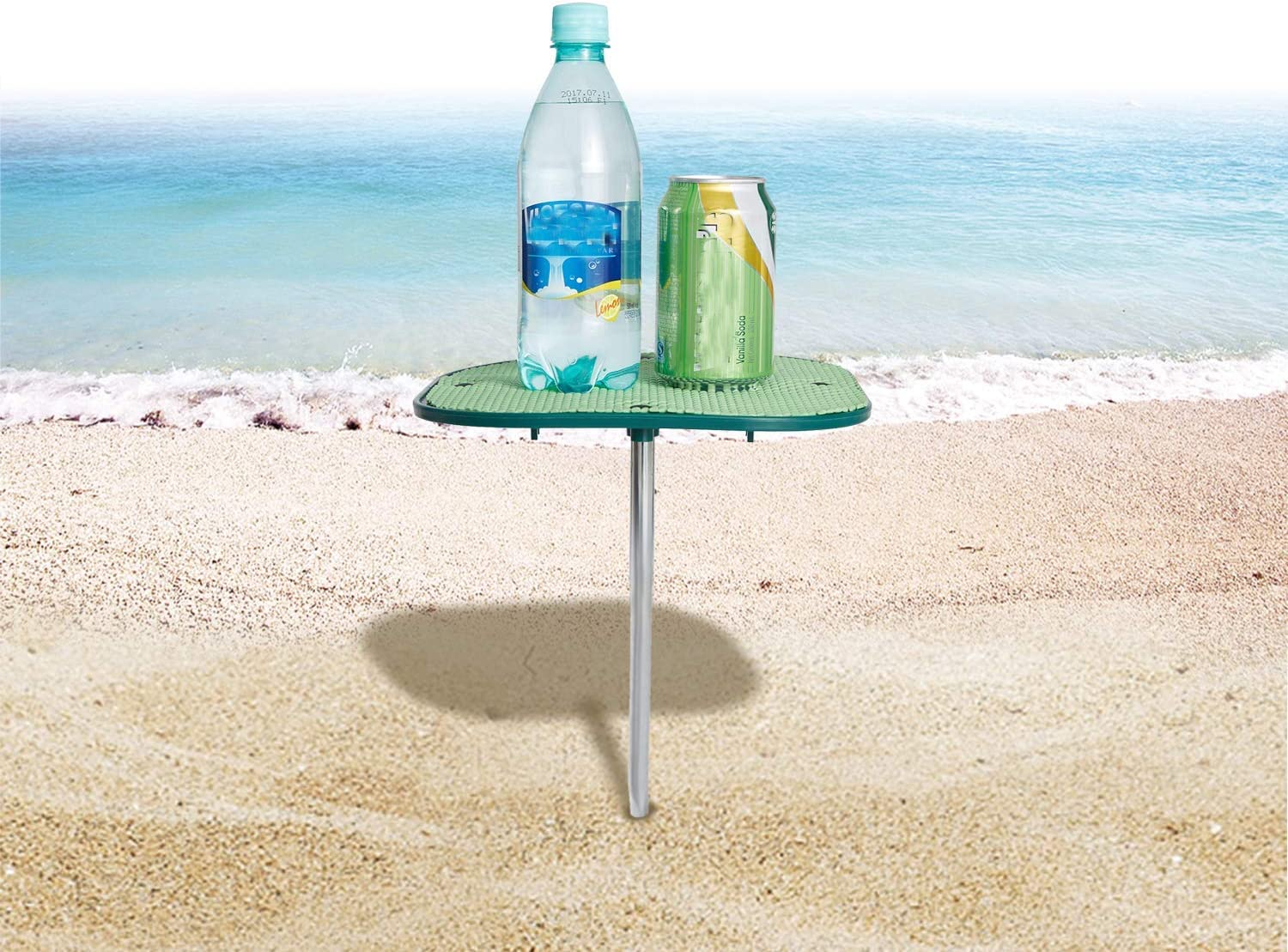 WEJOY Small Portable Personal Beach Tables for Sand, No-Slip Surface Prevents Spills and Slips, Blue