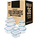 Utopia Kitchen Glass Food Storage Container Set (18 Containers and 18 Lids) - Transparent Lids - BPA Free (Bulk Pack of 36) (Color: Blue)