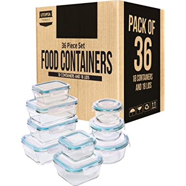 Utopia Kitchen Glass Food Storage Container Set - 36 Pieces (18 Containers and 18 Lids) - Transparent Lids - BPA Free