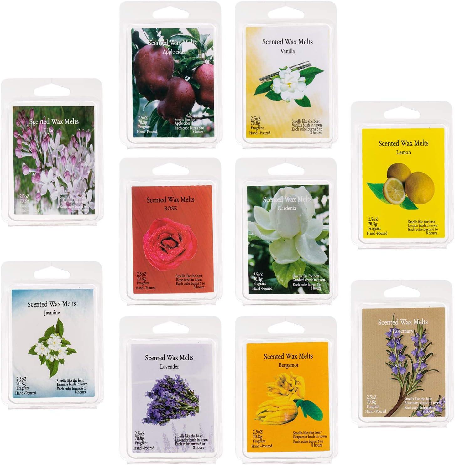 Scented Wax Melts -Set of 10 (2.5 oz) Assorted Wax Warmer Cubes/Tarts - Lemon, Lavender, Lilac, Rose, Jasmine, Vanilla, Bergamot, Rosemary, Apple, Gardenia