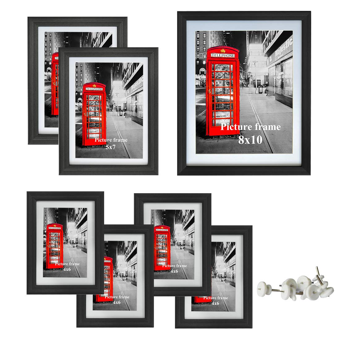 Amazing Roo Picture Frame 7 Piece with Glass Front Multi Photo Frames Gallery Set Dispaly for Wall or Tabletop, One 8x10, Two 5x7, Four 4x6 by Amazing Roo
