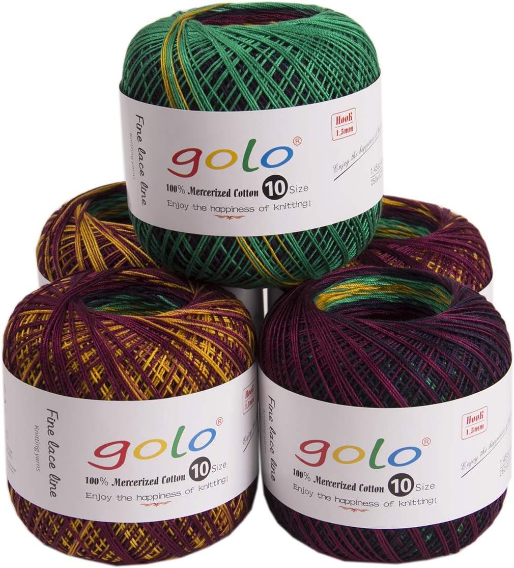 golo Crochet Thread Size 10 (Hardcover 5 Pack) Crochet Yarn for Hand Knitting (Peacock Green D6001)
