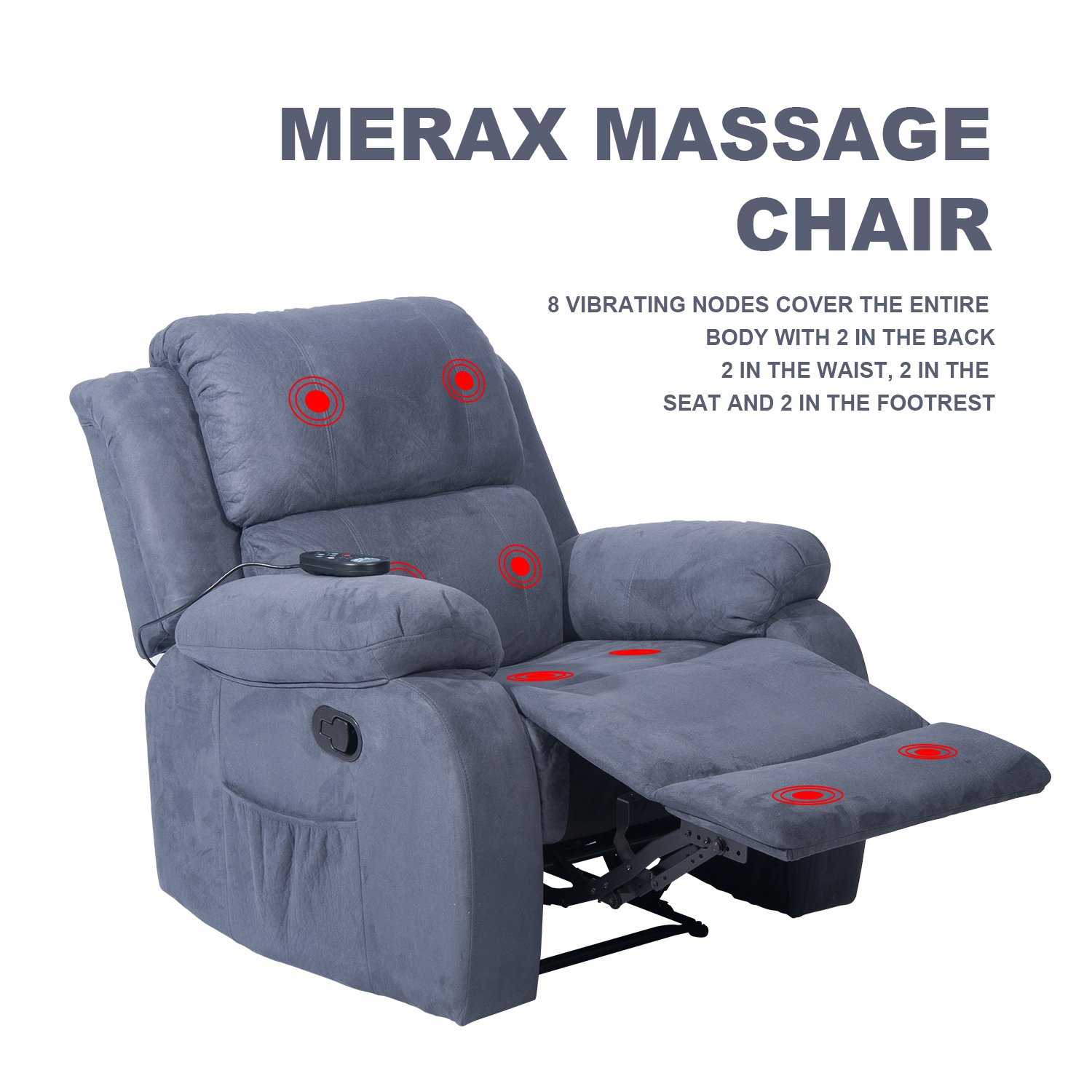 Merax Suede Heated Massage Recliner Sofa Chair Ergonomic Lounge with 8 Vibration Motors, Grey by Merax (Image #3)