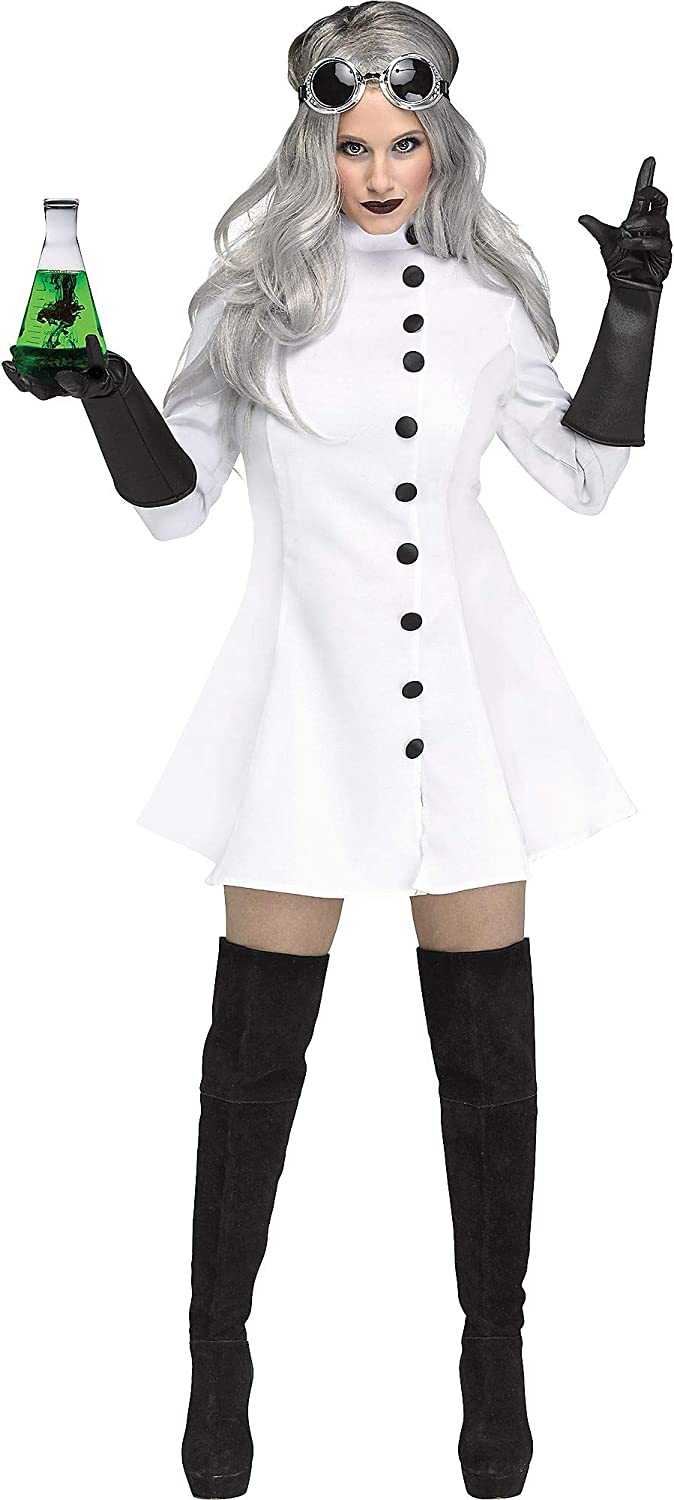 Fun World Adult Womens Mad Scientist White Dress Goggles and Gloves Halloween Costume, White