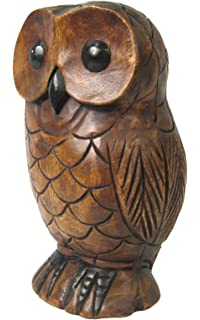Thai gifts wooden owl carving hand carved standing owl: amazon.co