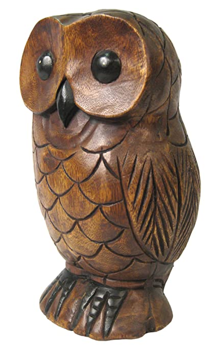 Once a tree wooden owl cm sculpture hand carved acacia wood