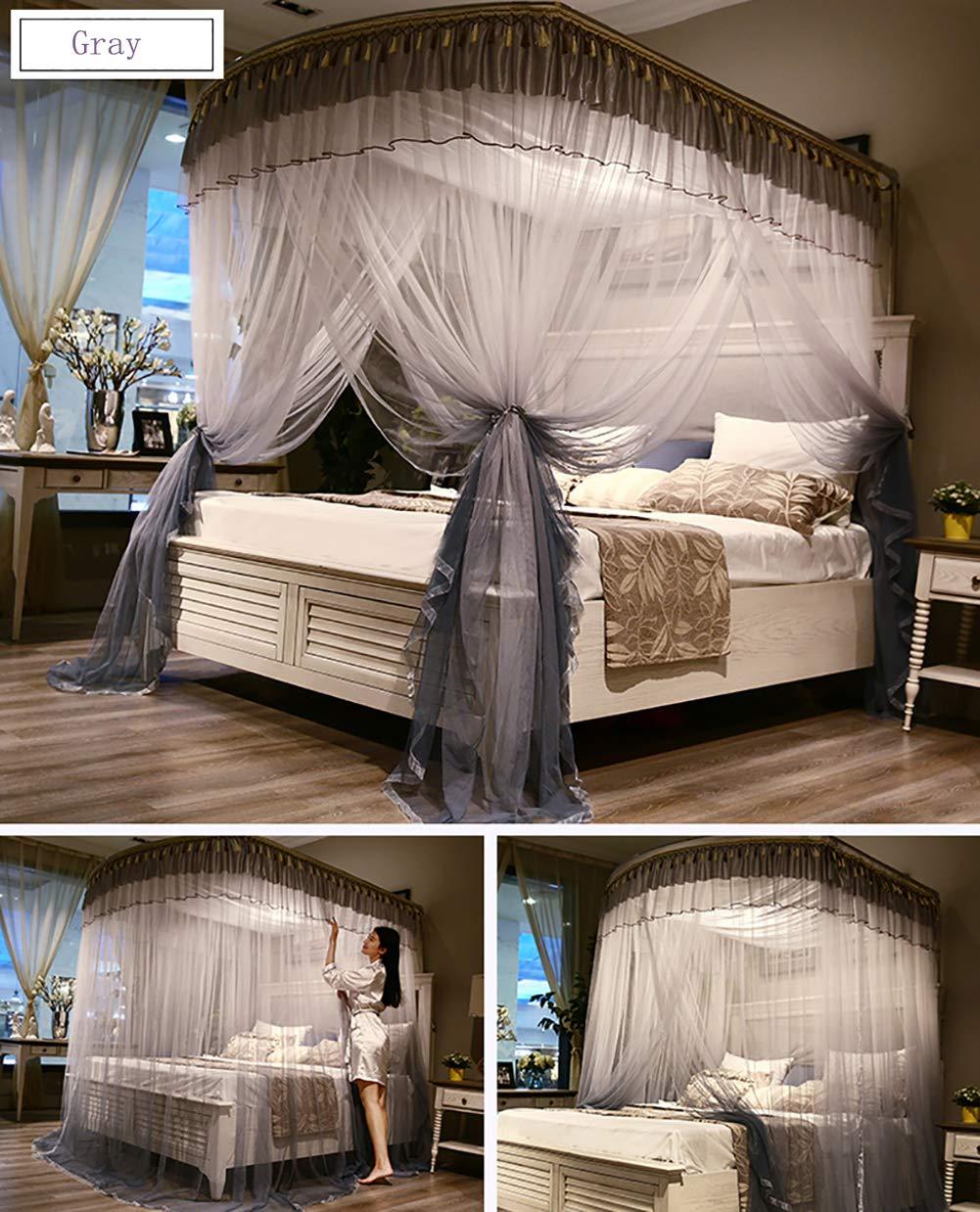 蚊帳大型ダブルベッドサンシェードネット寝具装飾王女ベッド正方形蚊帳屋内と屋外のキャンプに適した 1.5m Gray B07TB4V94L