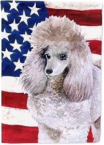 Caroline's Treasures BB9665GF Poodle Patriotic Flag Garden Size, Small, Multicolor