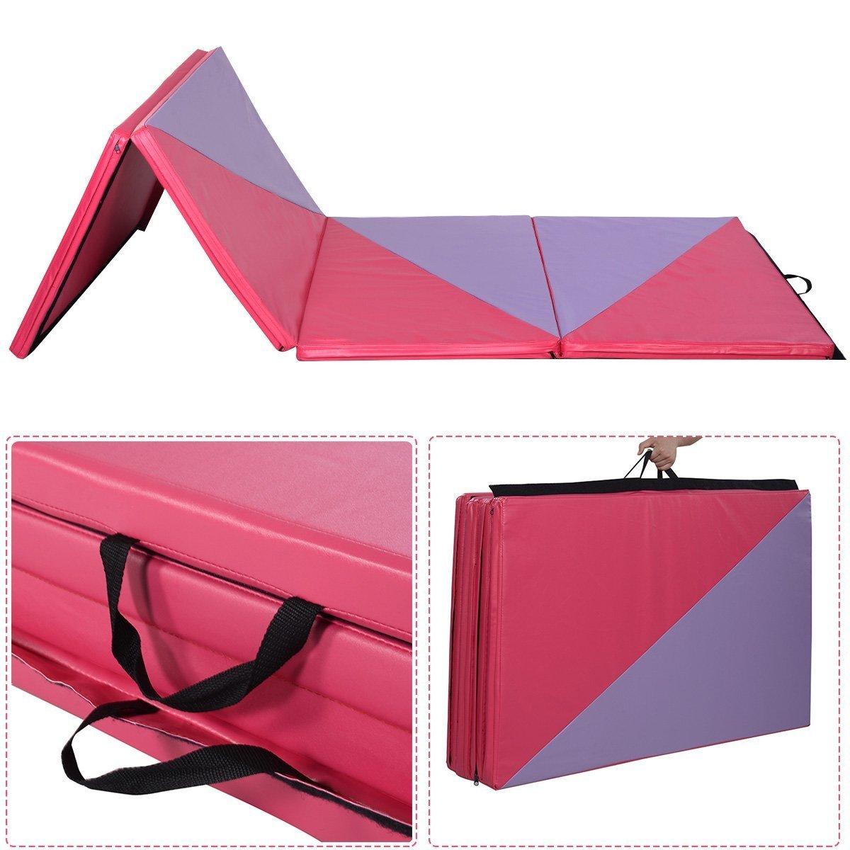 ZENOVA Thick Folding Gymnastics Mat 4x10//4x12 Large Home Aerobics Exercise Gym Mat Girls Indoor Fitness
