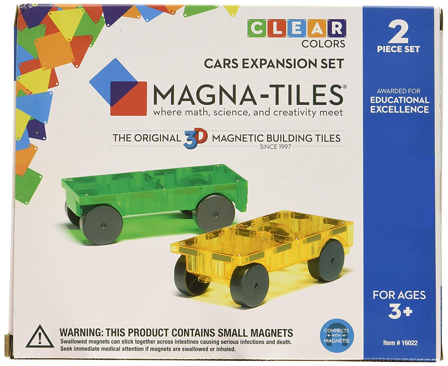 Magna-Tiles 32-Piece Clear Colors Set - The Original, Award-Winning Magnetic Building Tiles - Creativity and Educational - STEM Approved Bundled 2-Piece Car Expansion Set by Magna-Tiles (Image #3)