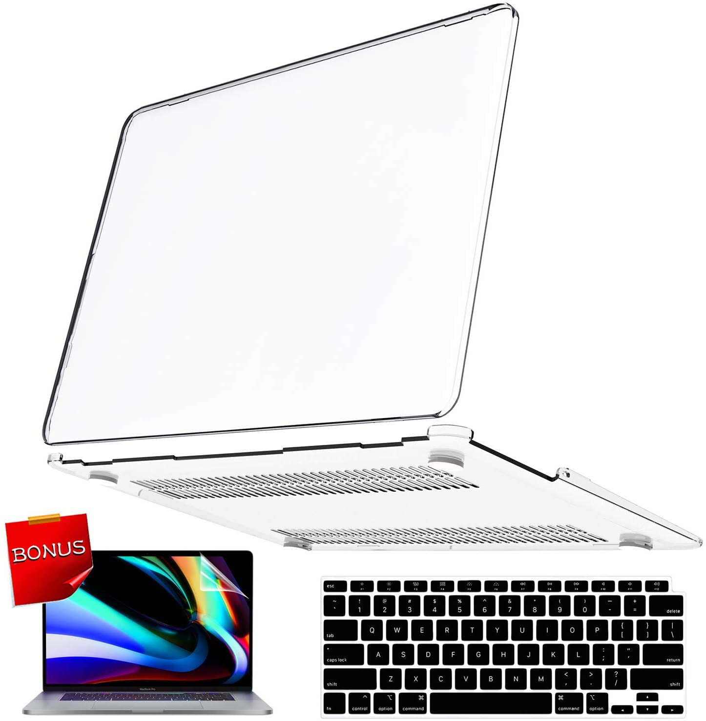 MacBook Air 13 Inch Case 2020 2019 2018 Release A2179 A1932 with Retina Display, iPAPA Soft Touch Hard Shell Cover + Keyboard Cover + Screen Protector, MacBook Air 2020 Case with Touch ID, Clear