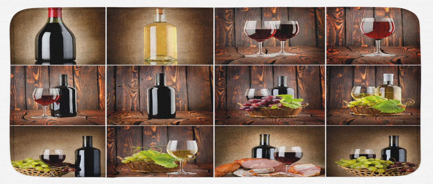 Amazon.com: Ambesonne Wine Kitchen Mat, Wine Themed Collage ...