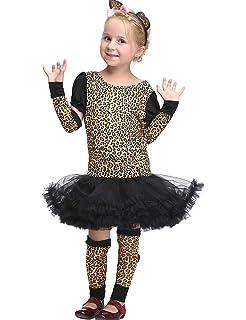 a8f0f02cdfdc VENI MASEE Girl Leopard Jungle Cheetah Animal Cosplay Fancy Dress Halloween  Costume Set…