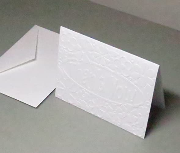 handmade thank you floral embossed note cards from 250gsm pure white matte english cardstock set - Embossed Note Cards
