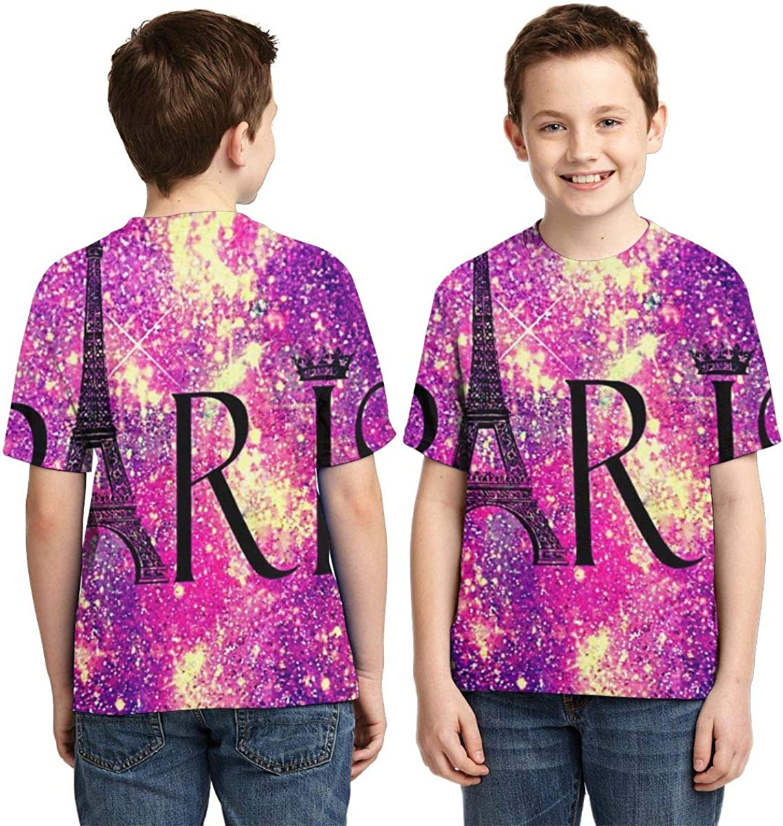 Paris Galaxy Full Printed Short Sleeve Crew Neck Tees Summer Tops for Boys Youth T-Shirts