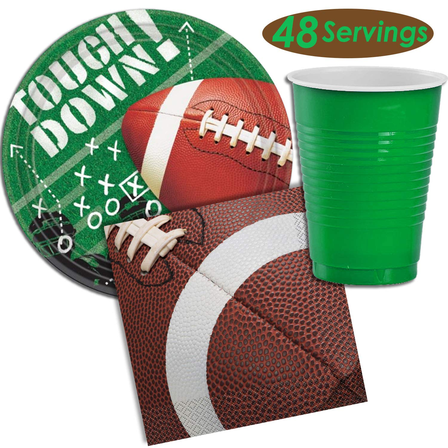 Football Party Supplies - 48 Servings - Dinner plates, Party cups, Napkins