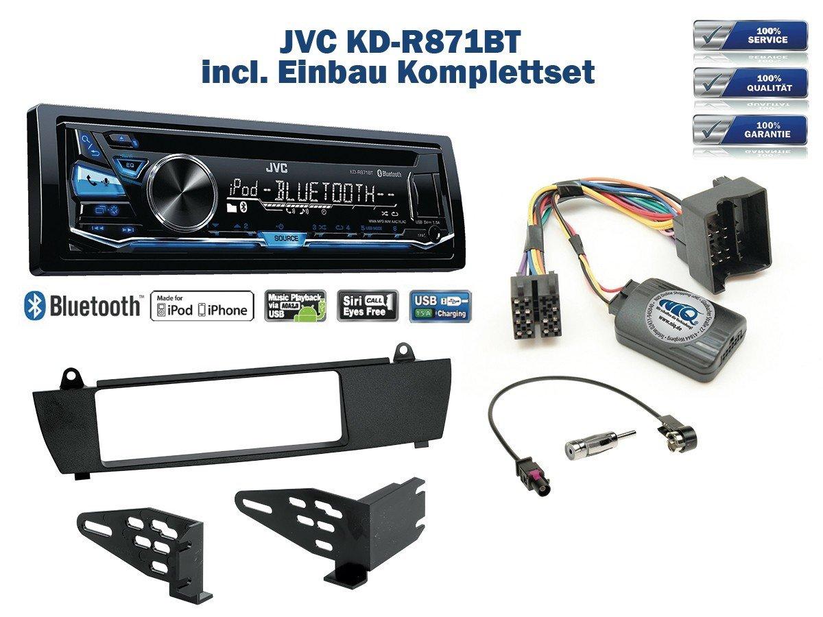 BMW X3 E83 (ohne Werkseitiger Navi) Autoradio Einbauset *Schwarz* inkl. JVC KD-R871BT und Lenkrad Fernbedienung Adapter NIQ BM-22-JV-05-NIQ