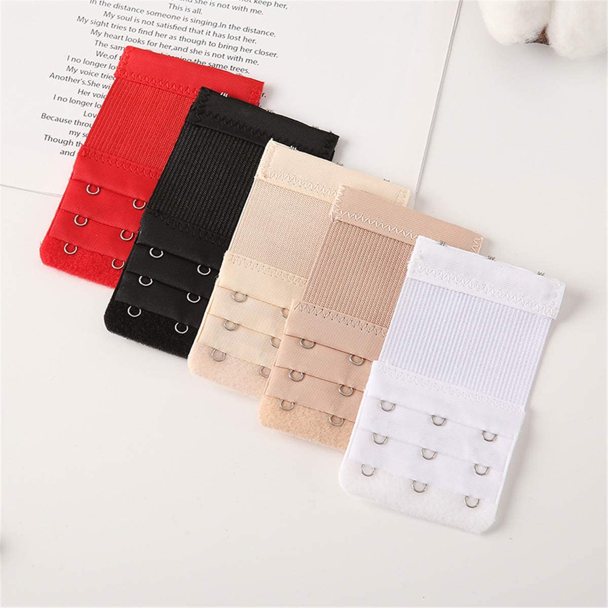 5//6 Pcs Bra Extender Bra Strap Extenders Extensions Comfortable Elastic Extender 3 Rows 2//3//4 Hooks White Black Red Beige Apricot Set for Most Sizes and Colors Bras