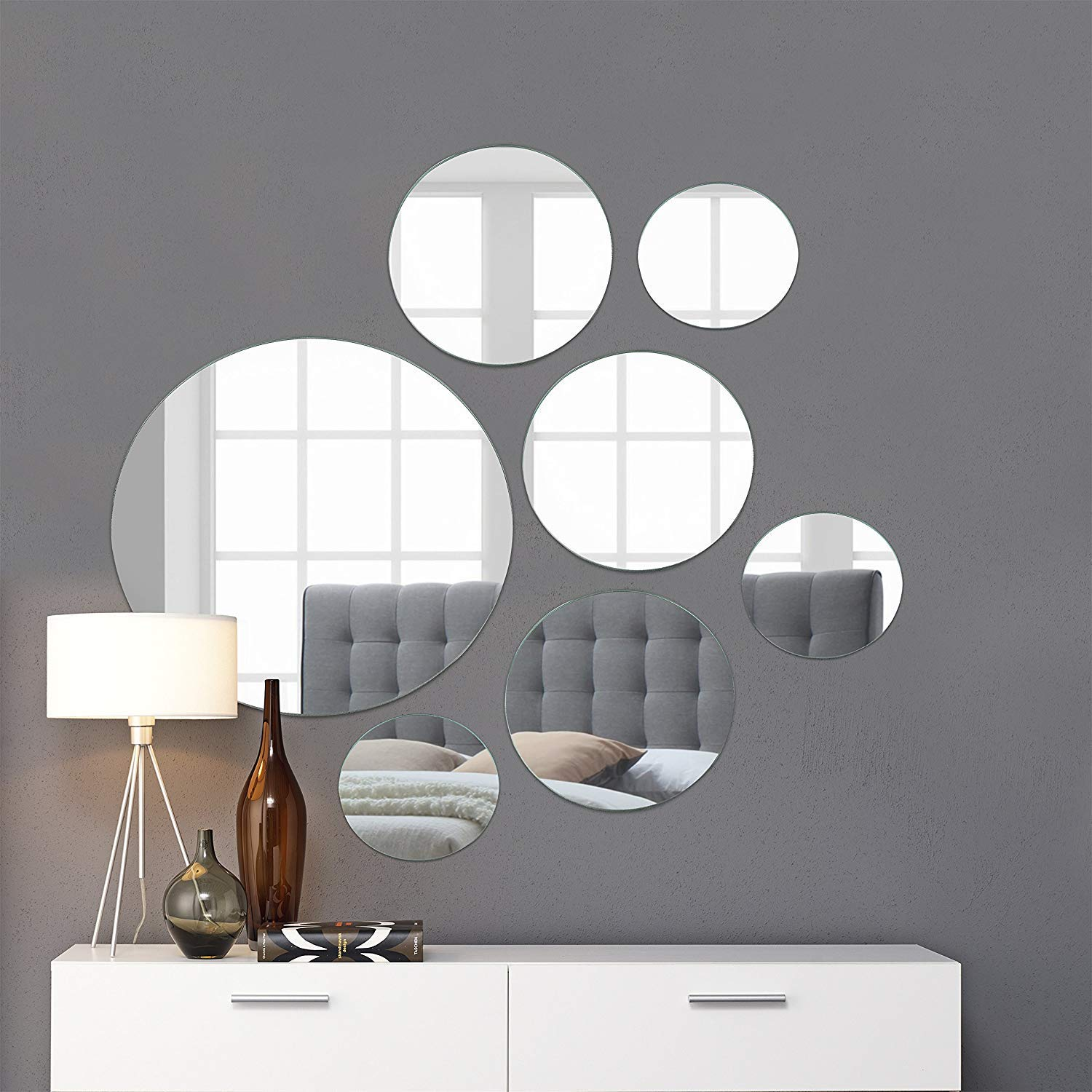 """Light In The Dark Large Round Mirror Wall Mounted Assorted Sizes (1x12"""", 3x9"""", 3x6"""") - Set of 7 Round Glass Mirrors Wall Decoration for Living Room, Bedroom or Bathroom."""