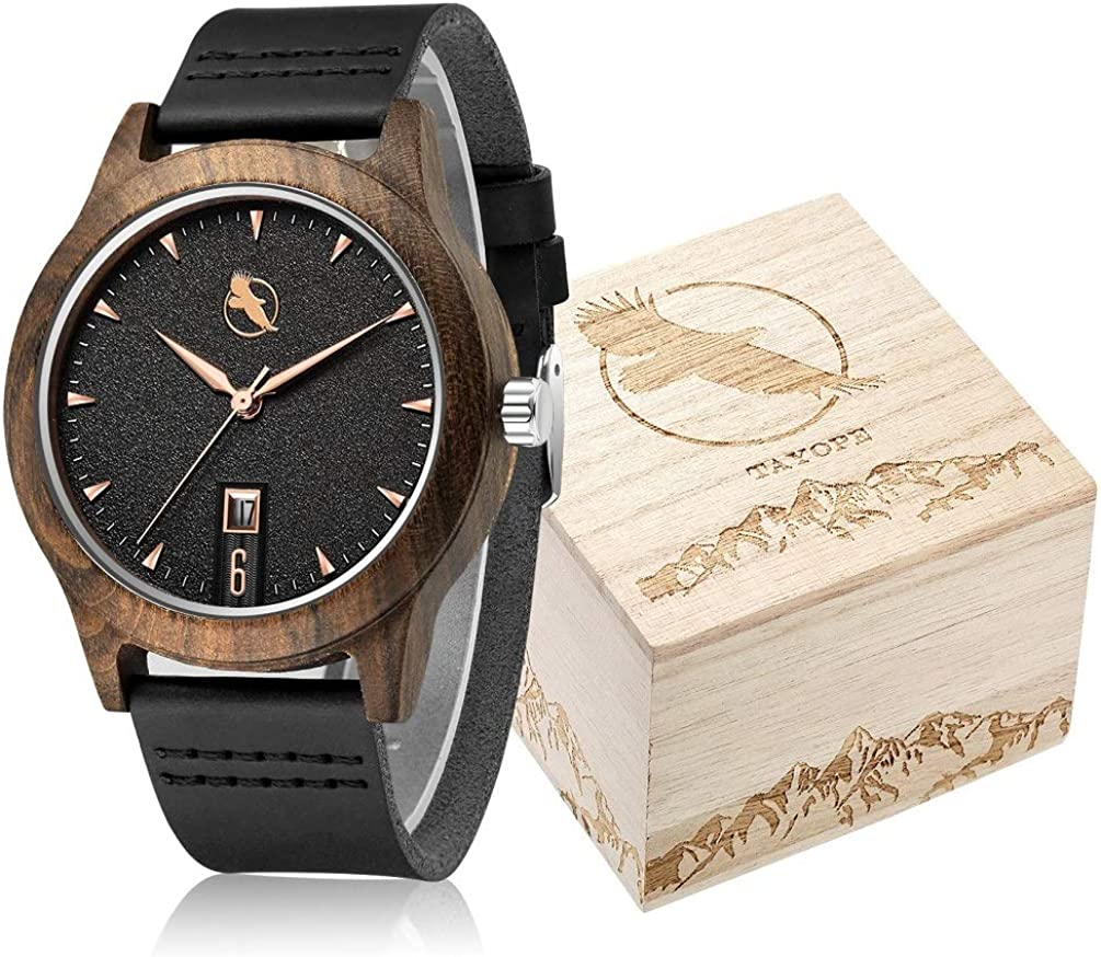 Tayope Wood Watches for Men Women, Bamboo Wood Leather Quartz Wristwatch in Engraved Box