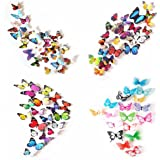 80 x PCS 3D Colorful Butterfly Wall Stickers DIY Art Decor Crafts For Nursery Room Classroom Offices Kids Bedroom Bathroom Living Room