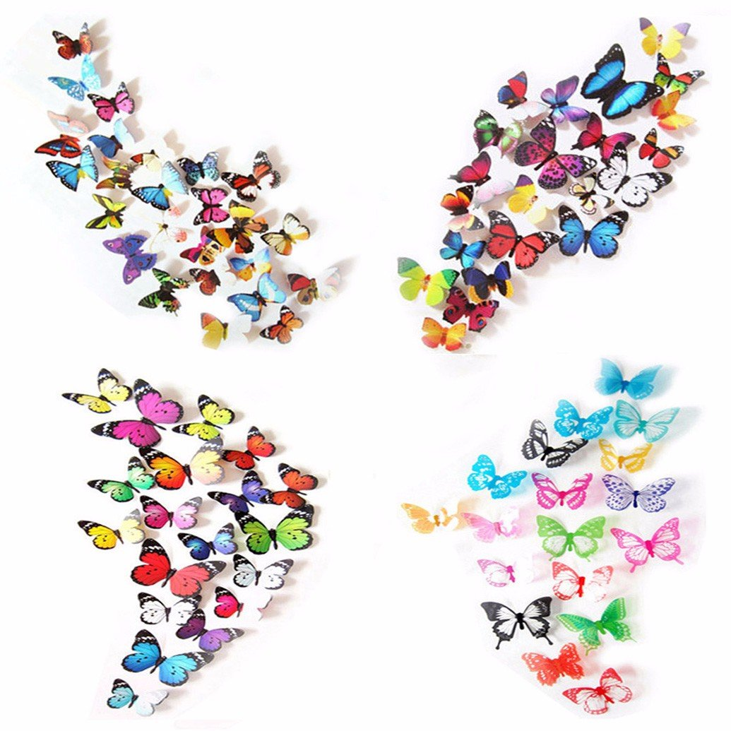 80 x PCS 3D Colorful Butterfly Wall Stickers DIY Art Decor Crafts For Nursery Room Classroom Offices Kids Girl Boy Baby Room Bedroom Bathroom Living Room Sticker Set