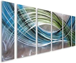 Pure Art Abstract Color Warp Metal Wall Art, Large Scale Decor Abstract Blue-Green Swirls, 3D Wall Art for Modern and Contemporary Decor, 6-Panels Measure 24