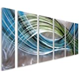 """Pure Art Abstract Color Warp Metal Wall Art, Large Scale Decor Abstract Blue-Green Swirls, 3D Wall Art for Modern and Contemporary Decor, 6-Panels Measure 24""""x 65"""", Great for Indoors and Outdoors"""