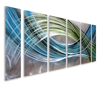 10fe3bd486 Pure Art Abstract Color Warp Metal Wall Art, Large Scale Decor Abstract  Blue-Green