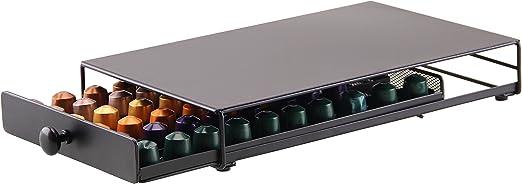 Dispensador Capsulas Nespresso-40/60 Piezas Café 360 Grados Giratorio Cápsulas-Cromo Plateado Elegante con Acero Inoxidable (Cajón-60 piezas): Amazon.es: Hogar