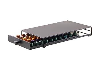 Dispensador Capsulas Nespresso-40/60 Piezas Café 360 Grados Giratorio Cápsulas-Cromo Plateado Elegante con Acero Inoxidable (Cajón-60 piezas): Amazon.es: ...