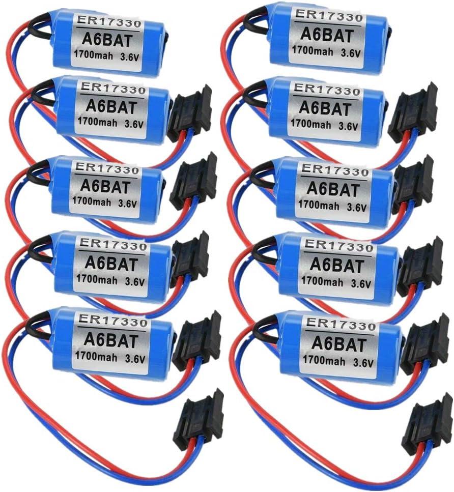 A6BAT PLC de litio recargable 2/3 A 3,6 V 1700 mAh con enchufe US para Mitsubishi A6BAT Servo ER17330 V – Paquete de 10 unidades: Amazon.es: Bricolaje y herramientas