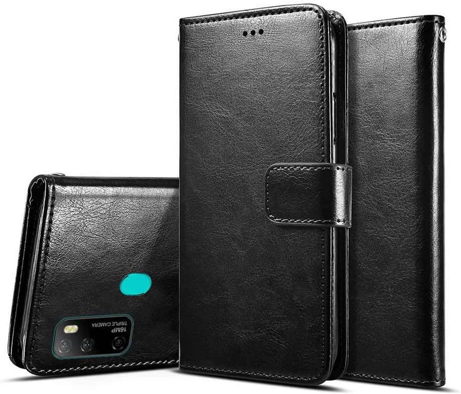 Ulefone Note 9P 2020 Wallet Case 6.52 Ulefone Note 9P Case with Screen Protector,PU Leather Wrist Strap Card Slots Soft TPU Shockproof Protective Flip Cover Case,Black