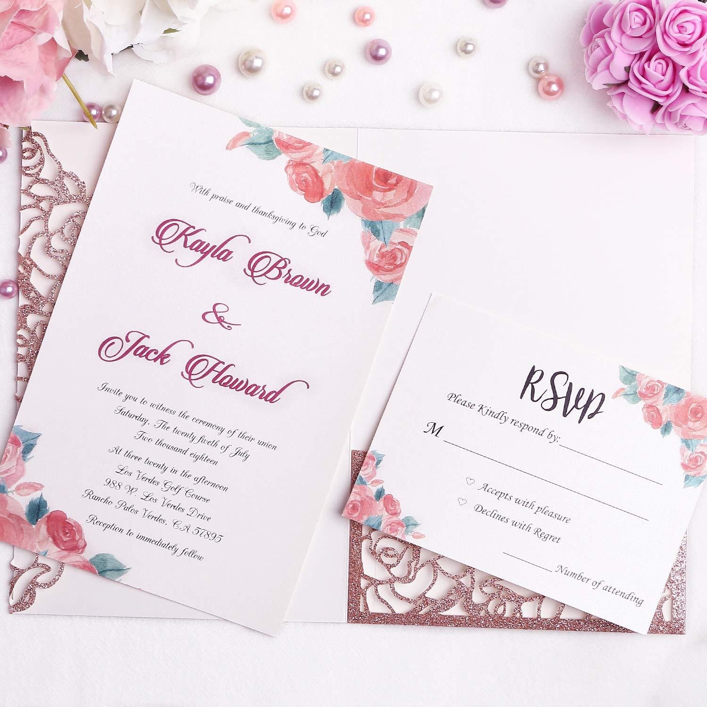 FEIYI 20 PCS 3 Folds Laser Cut Rose Shape Wedding Invitations Cards For Wedding Bridal Shower Engagement Birthday Graduation Invitation Cards (Rose ...