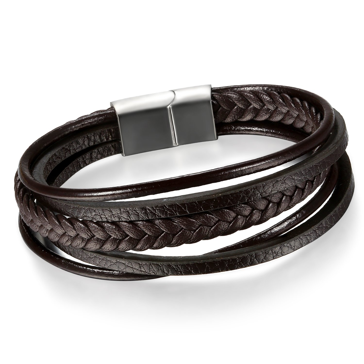 Cupimatch Men's Stainless Steel Magnetic Clasp Multi-Layer Braided Leather Rope Bracelet Cuff 8.5 C006033