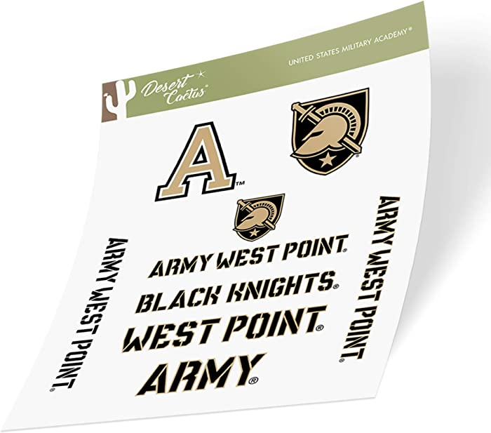 United States Military Academy USMA Black Knights NCAA Army West Point Sticker Vinyl Decal Laptop Water Bottle Car Scrapbook (Type 2 Sheet)