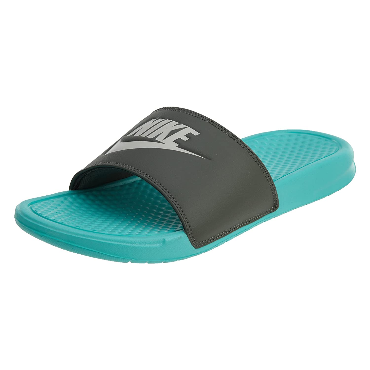 NIKE Men's Women's Benassi Just Do It Walking Shoe B00BU9Y2NG 9 B(M) US|Aurora Green/Light Bone