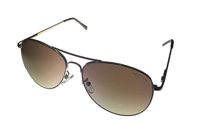 3b4e7efefe Amazon.com  Kenneth Cole Reaction Gold Metal Metal Aviator Sunglass ...