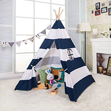 sports shoes fad0d bed44 e-joy 6' Indoor Indian Playhouse Toy Teepee Play Tent for Kids Toddlers  Canvas Teepee with Carry Case with Mat (Blue Stripe)