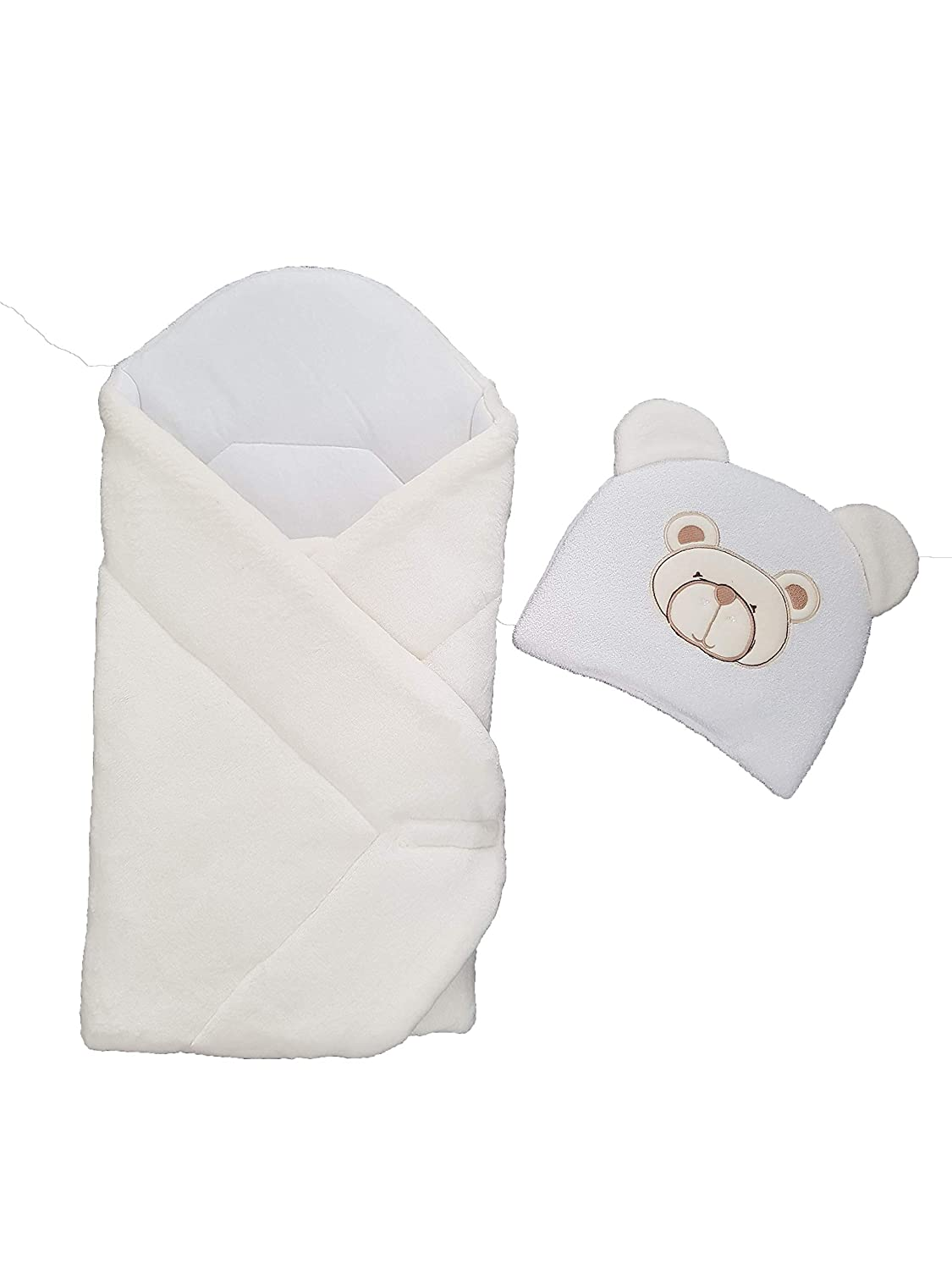af209c85061 Amazon.com  BlueberryShop FLEECE with Pillow Very WARM and Cute Swaddle Wrap  Blanket Sleeping Bag baby shower GIFT PRESENT 0-3m (0-3m) (78 x 78 cm)  Cream  ...